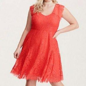 NWT TORRID Coral Lace Skater Dress SZ 2